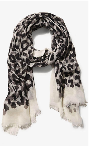 Gray leopard scarf