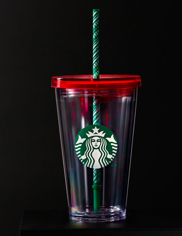 Starbucks Cold Cup w Holiday Straw 16 fl oz