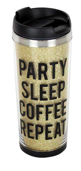 TMD| Party Sleep Coffee Repeat Glitter Tumbler $12.00 $8.97
