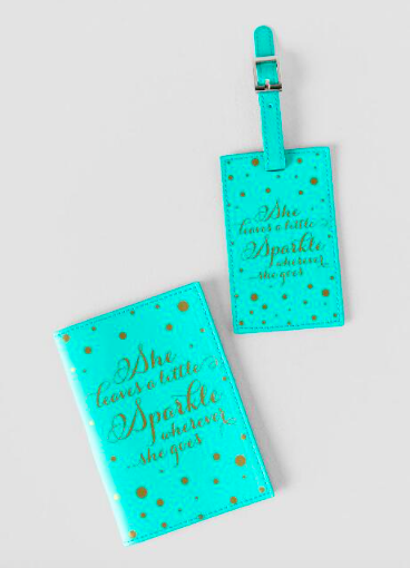 Gold Polka Dot She Leaves A Little Sparkle Luggage Tag and Passport Set $18